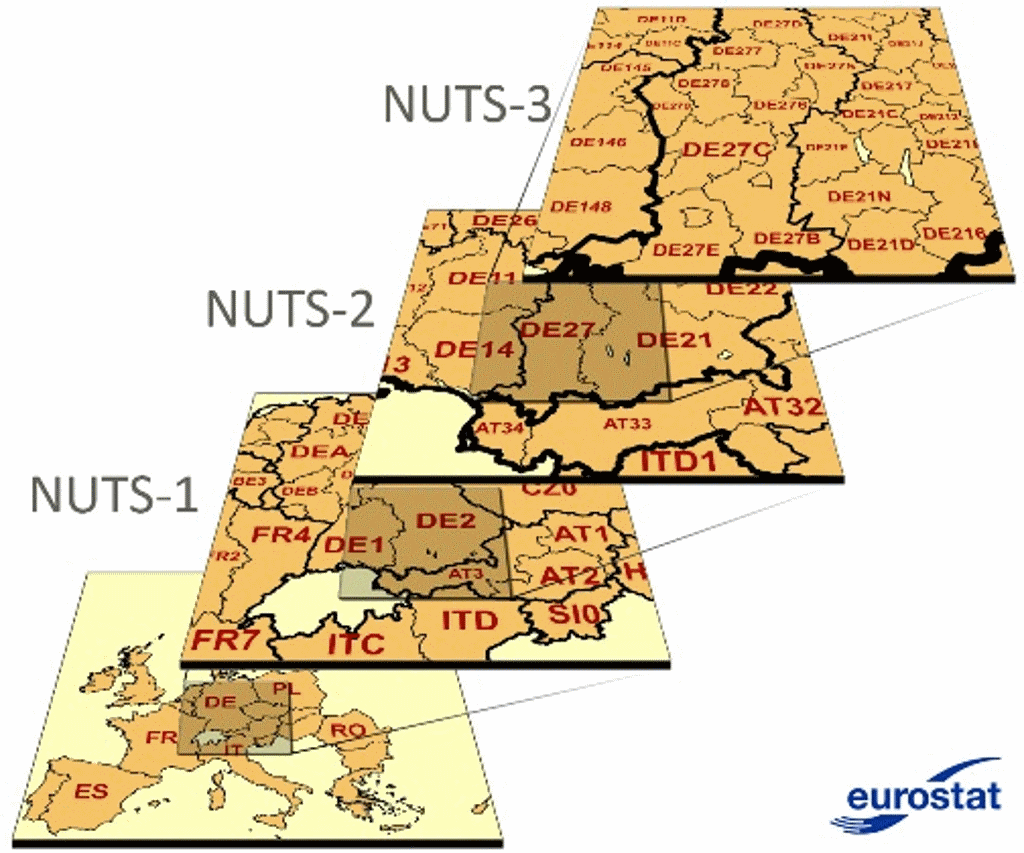 R, GIS, and fuzzyjoin to reconstruct demographic data for NUTS regions of Denmark