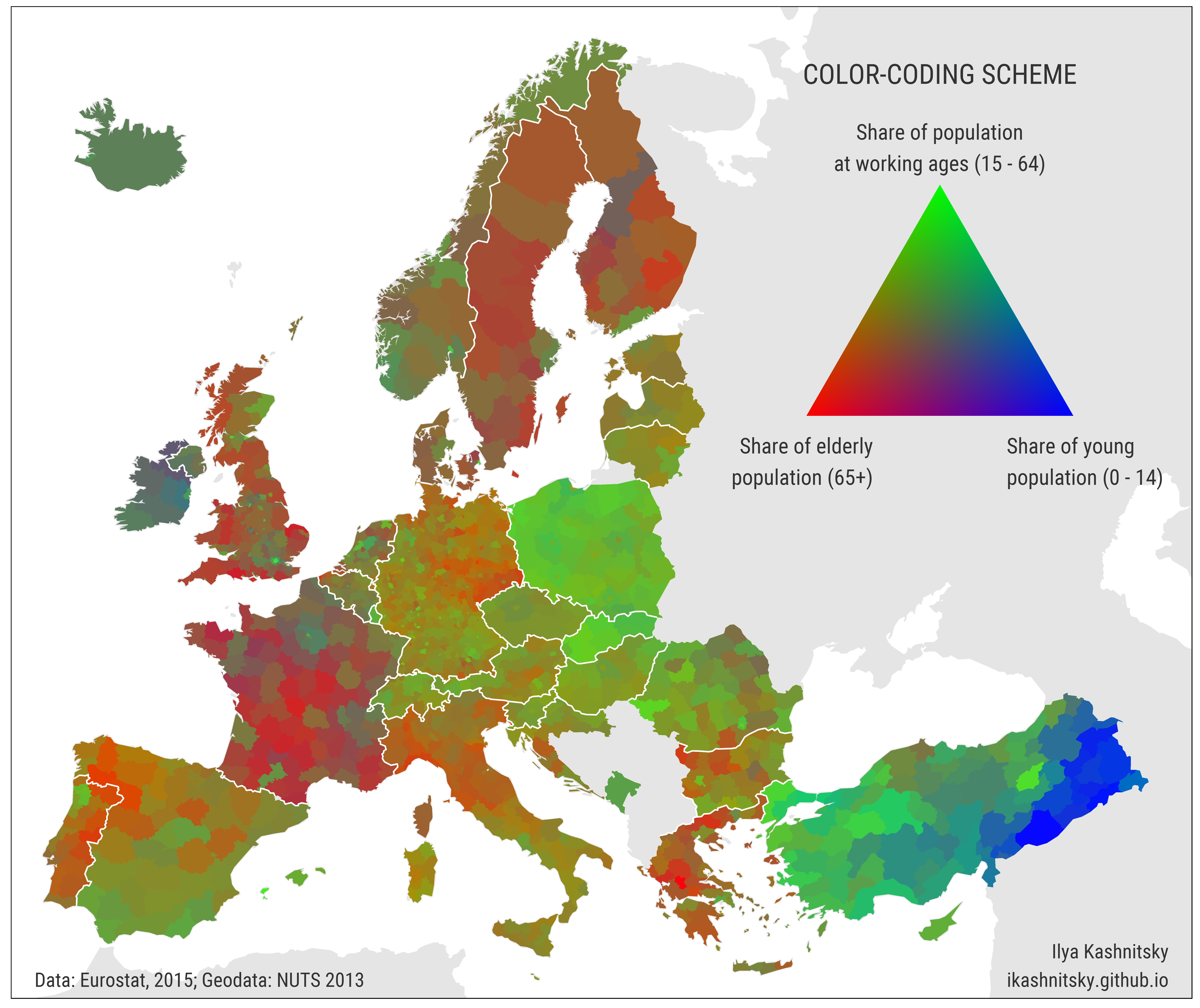 Colorcoded map regional population structures at a glance Ilya